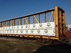 Shipments of FSC lumber by rail car